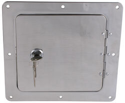 "Ultra-Fab Universal Access Door for Trailers and RVs - 5"" x 5"" Opening - Chrome"