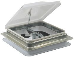 "Ventline Ventadome Trailer Roof Vent w/ 12V Fan - Manual Lift - 14-1/4"" - White - Birch Trim"