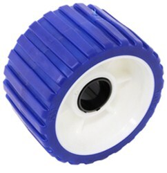 "Yates Ribbed Wobble Roller - TPR - 5"" Diameter - 1-1/8"" Shaft - Blue"