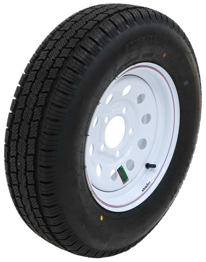 "Provider ST175/80R13 Radial Trailer Tire w/ 13"" White Mod Wheel - 5 on 4-1/2 - Load Range C 5 on 4-1/2 Inch A13RWMQ"
