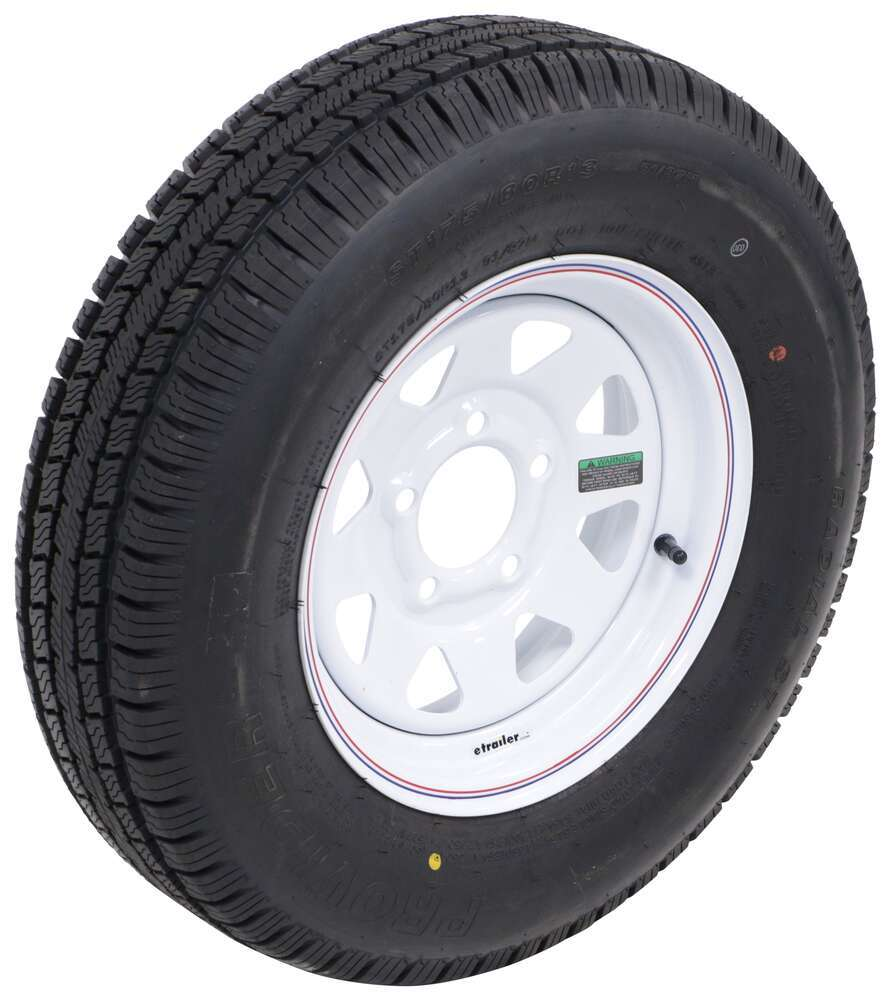 "Provider ST175/80R13 Radial Trailer Tire w/ 13"" White Spoke Wheel - 5 on 4-1/2 - Load Range C Load Range C A13RWSQ"