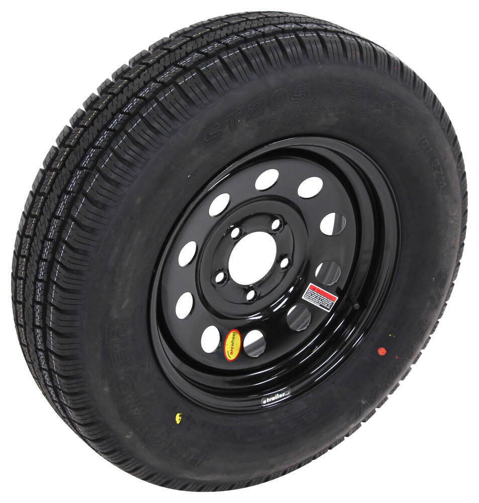 provider st205 75r15 radial trailer tire w 15 black mod wheel 5 on 4 1 2 load range c. Black Bedroom Furniture Sets. Home Design Ideas