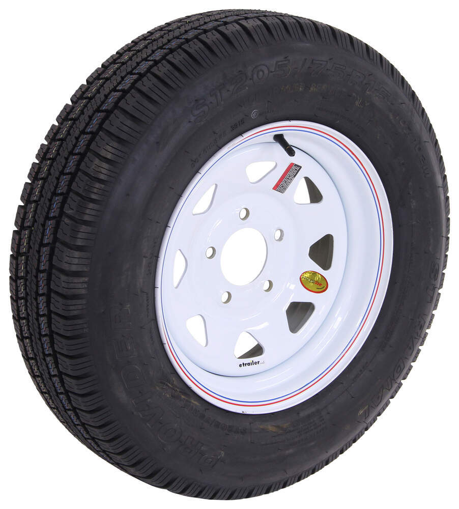 "Provider ST205/75R15 Radial Trailer Tire with 15"" White ..."