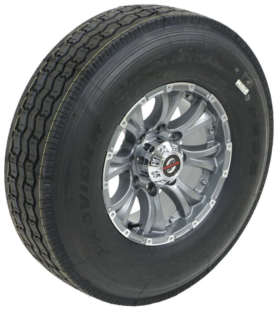 "Provider ST235/85R16 Radial Tire w 16"" Viking Aluminum Wheel - 8 on 6-1/2 - LR G - Gray Radial Tire A16RGGMML"