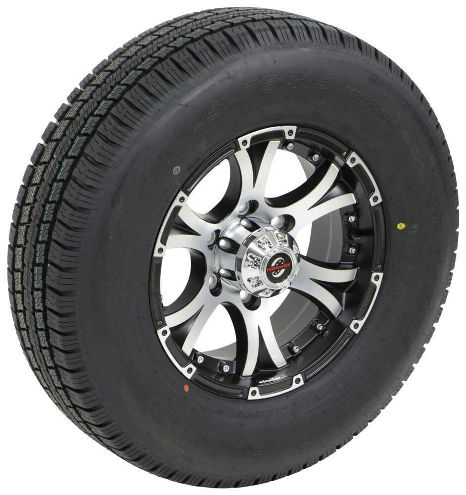 "Provider ST225/75R15 Radial Tire w 15"" Viking Aluminum Wheel - 6 on 5-1/2 - LR D - Black 15 Inch A225R6BMMFL"