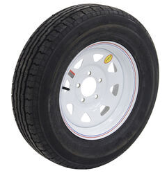 "Contender ST205/75R15 Radial Trailer Tire w/ 15"" White Spoke Wheel - Offset - 5 on 4-3/4 - LR C"