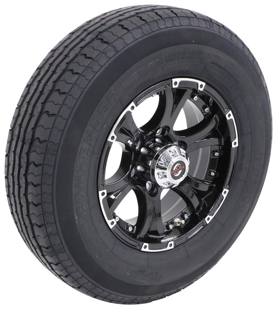 "Contender ST225/75R15 Radial Tire w 15"" Viking Aluminum Wheel - 6 on 5-1/2 - LR D - Black 6 on 5-1/2 Inch AC225R6BML"