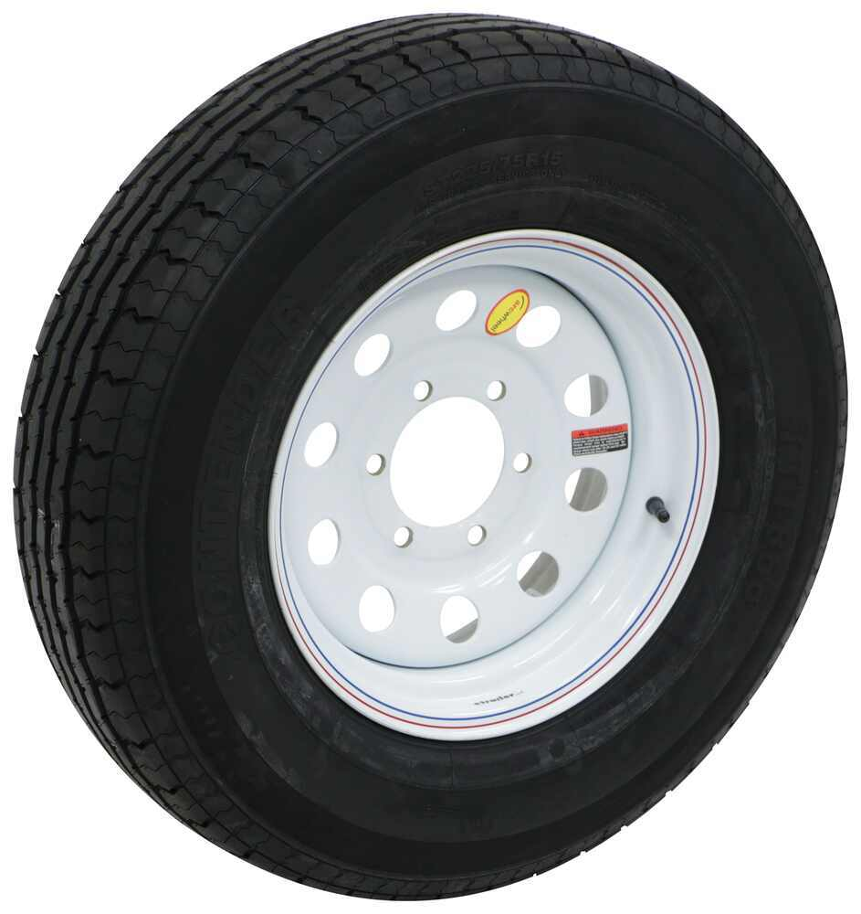 "Contender ST225/75R15 Radial Trailer Tire w/ 15"" White Mod Wheel - 6 on 5-1/2 - Load Range E Radial Tire AC225R6WME"