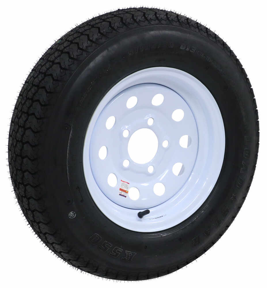 "Loadstar ST185/80D13 Bias Trailer Tire w/13"" White Modular Wheel - 5 on 4-1/2 - Load Range D 5 on 4-1/2 Inch AM3S333"
