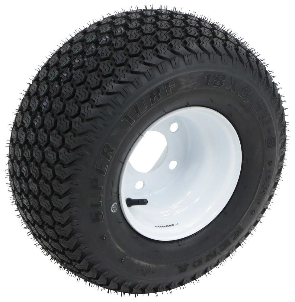 "Kenda K500 SuperTurf Tire with 8"" White Wheel - 5 on 4-1/2 - Load Range B 18/8.5-8 AM89992"