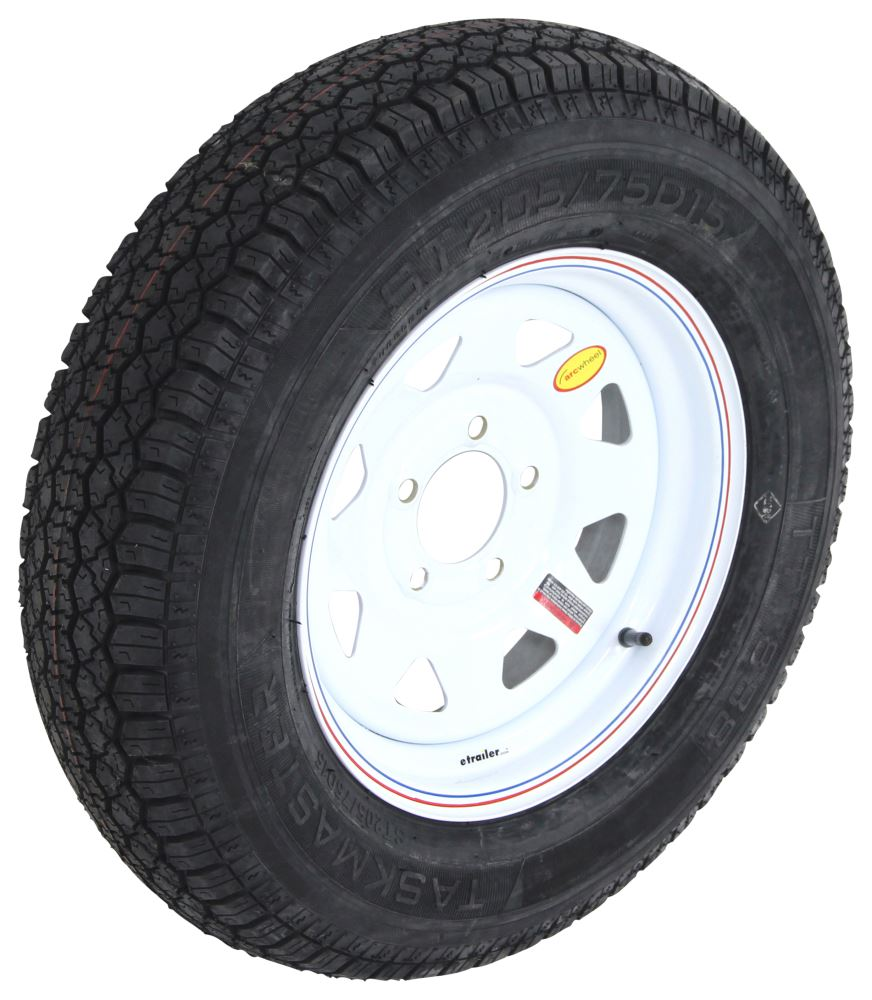 taskmaster st205 75d15 bias trailer tire with 15 white spoke wheel 5 on 4 3 4 load range c. Black Bedroom Furniture Sets. Home Design Ideas