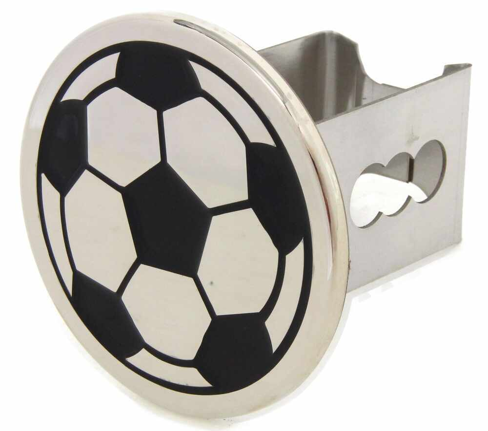 "Soccer Ball Trailer Hitch Cover - 2"" Hitches - Stainless Steel - Chrome Fits 2 Inch Hitch AUT-SOC-C"