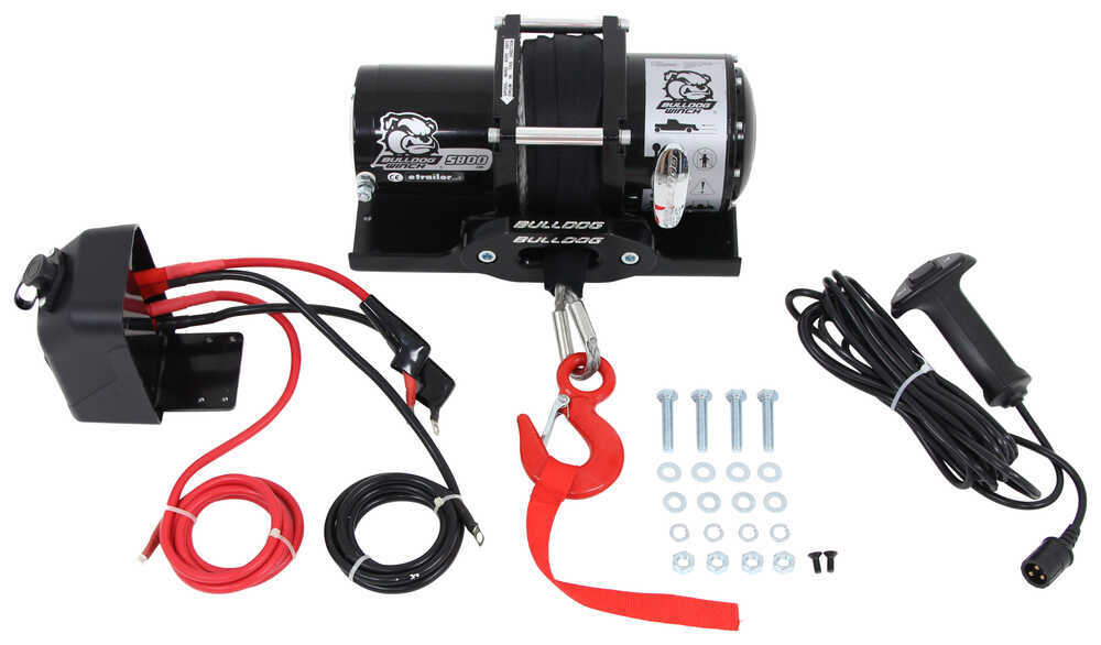Bulldog Winch Trailer Winch - Synthetic Rope - Hawse Fairlead - 5,800 lbs Plug-In Remote BDW10030