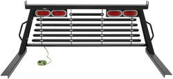 B&W Custom Headache Rack w/ LED Brake, Turn, Tail Lights - Black Powder Coated Steel