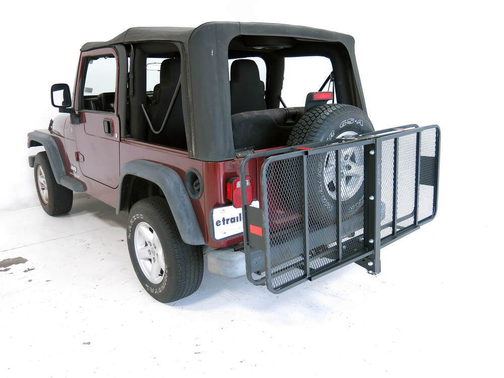 jeep wrangler unlimited 24x60 curt cargo carrier for 2 hitches steel folding 500 lbs. Black Bedroom Furniture Sets. Home Design Ideas
