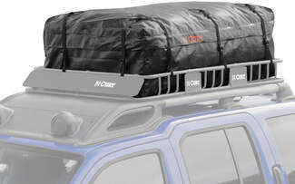 Cargo bag on roof rack basket