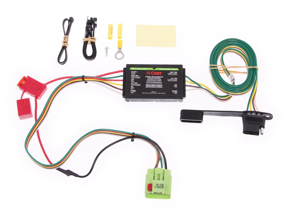 Curt T-Connector Vehicle Wiring Harness with 4-Pole Flat Trailer ...