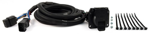 curt custom fit vehicle wiring 7 blade 5th wheel/gooseneck harness w/ 7-pole connector - 10' long