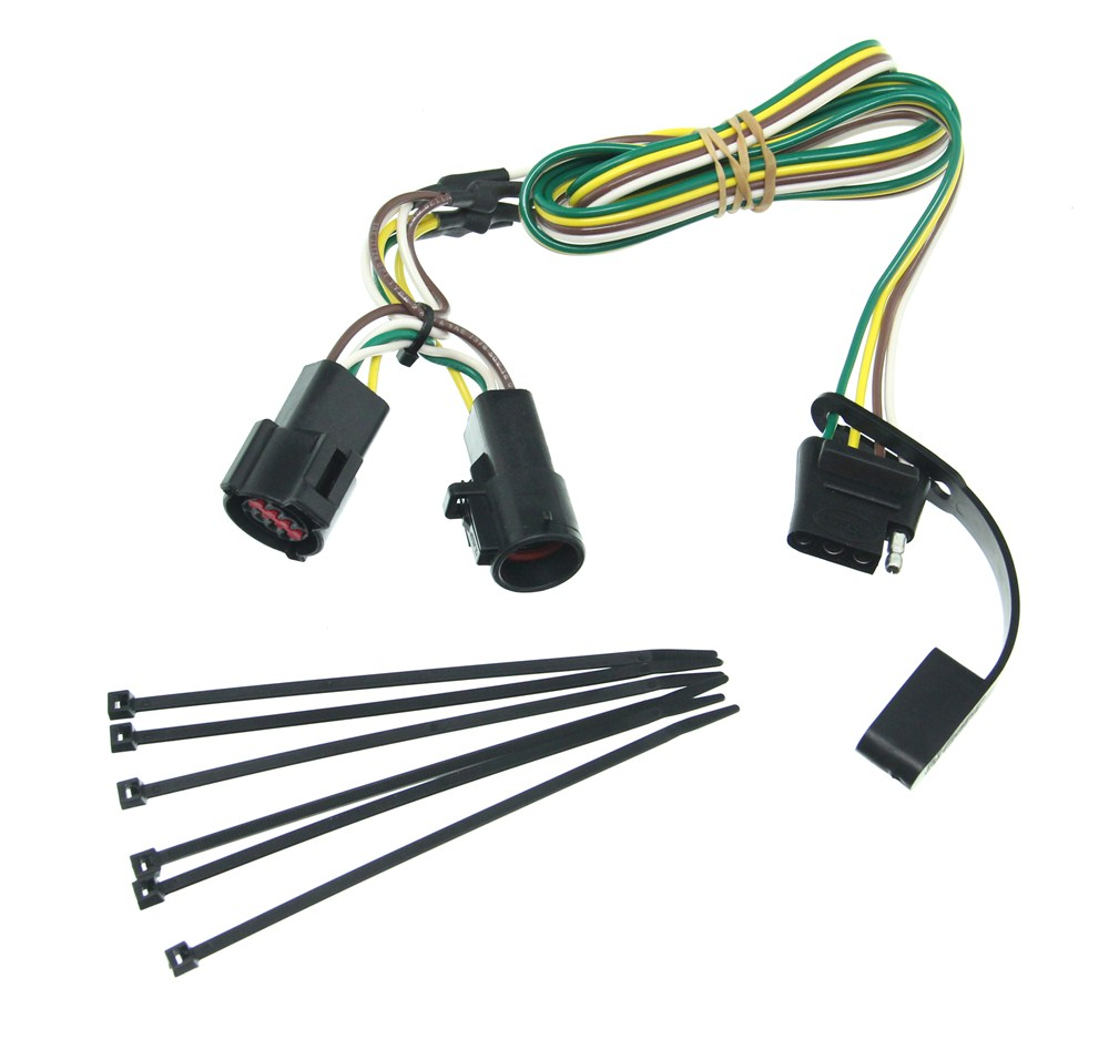Curt T-Connector Vehicle Wiring Harness with 4-Pole Flat Trailer Connector  Curt Custom Fit Vehicle Wiring C56031