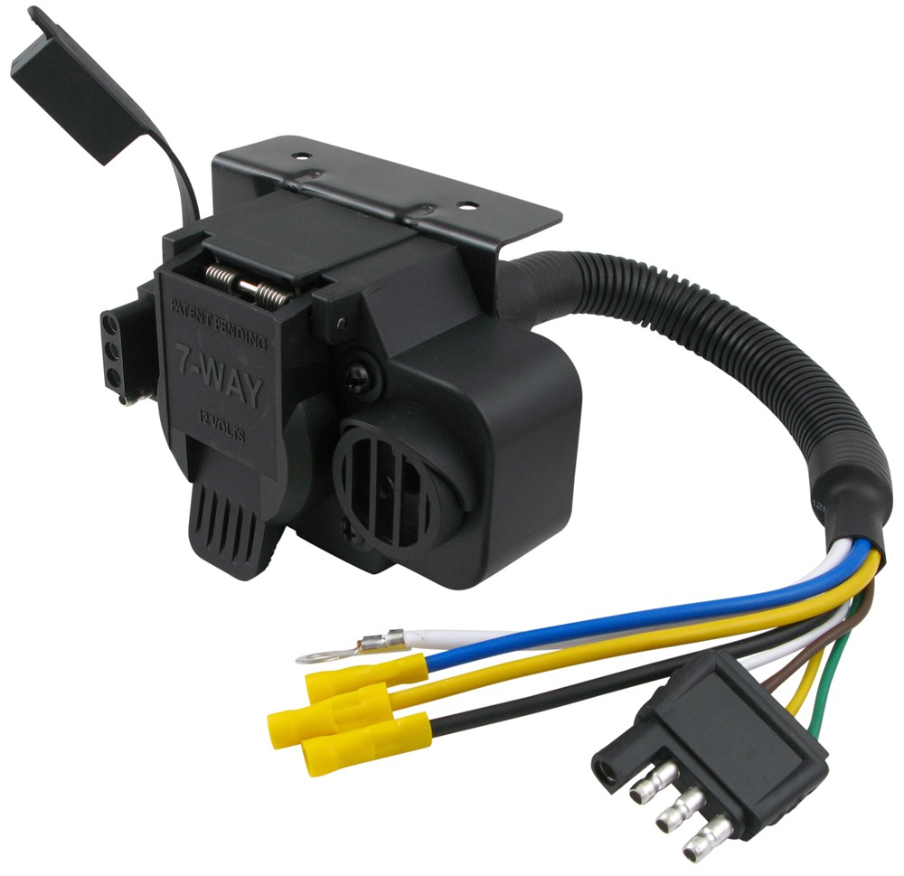 Curt Trailer Connector Adapter with Backup Alarm - 4-Way to 7-Way RV and  4-Way Flat Curt Wiring C57102