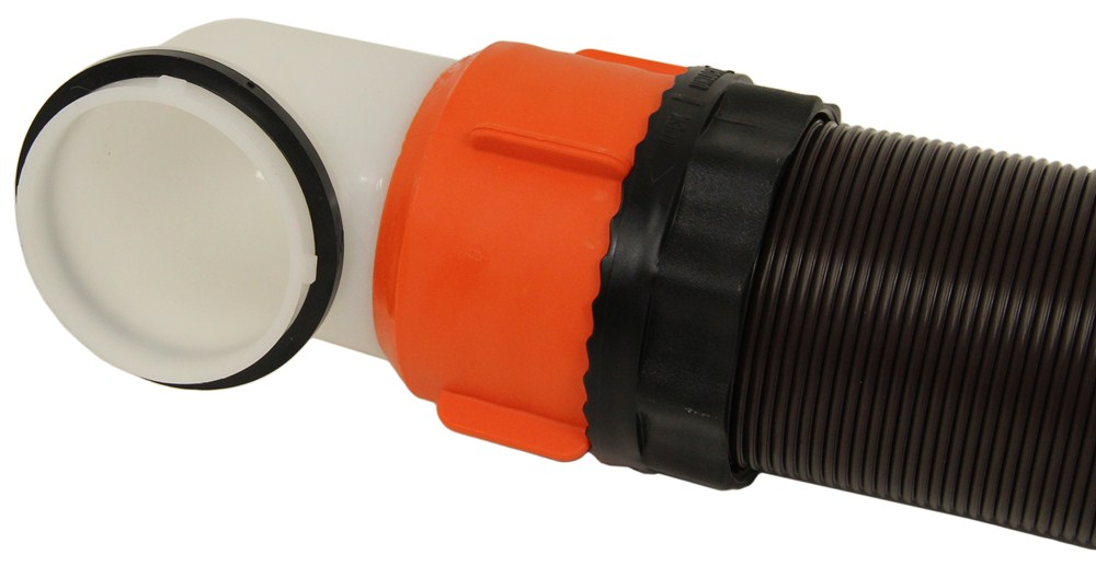 Rhinoflex rv sewer hose w swivel fittings in adapter