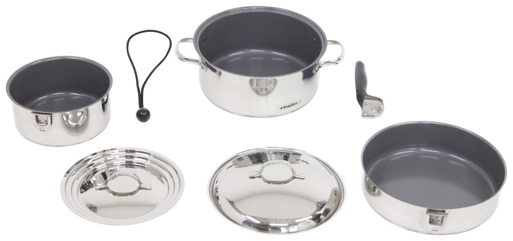 Camco Stainless Steel Nesting Cookware Ceramic Coated