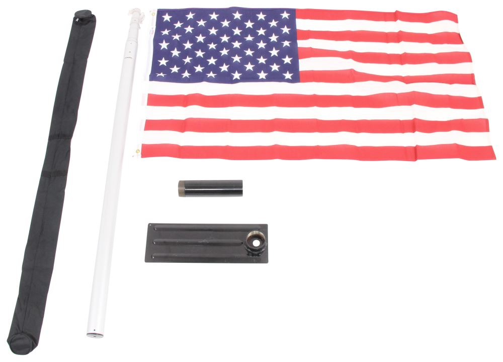 Camco Telescoping Flagpole W Car Foot Base Storage Bag