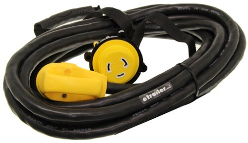 Power Grip Marine Style Power Cord Adapter W Handle 30 Amps 25 Long Locking Ring Camco