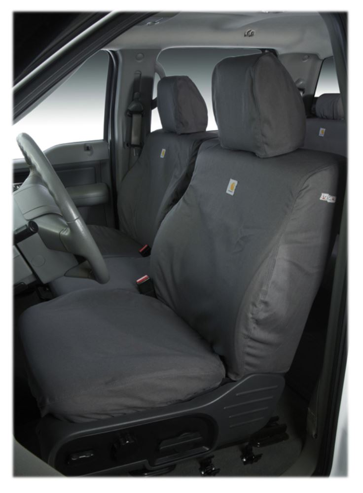 Covercraft Carhartt SeatSaver Custom Seat Covers - Front - Gravel Adjustable Headrests SSC3425CAGY