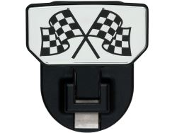 Carr Custom-Fit Tow-Hook-Mounted Step - Black Powder Coat Aluminum - Checkered Flags Graphic - Qty 1