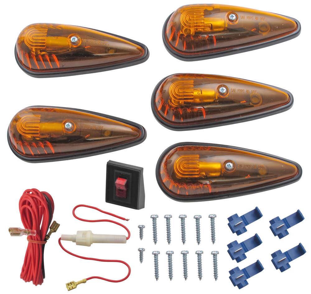 Clearance Light Kit Teardrop Shape Amber Qty 5 Optronics Hymer Caravan Wiring Diagram Vehicle Lights Cb 15ak