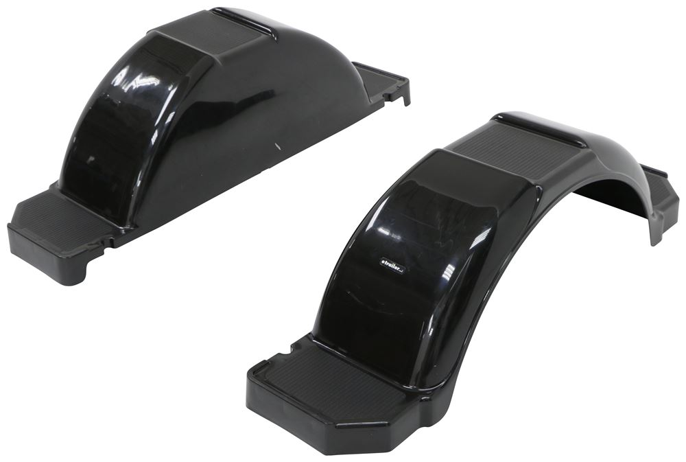 "CE Smith Single Axle Trailer Fenders w/ Top and Side Steps - Black Plastic - 14"" Wheels - Qty 2 Plastic CE19504-2"