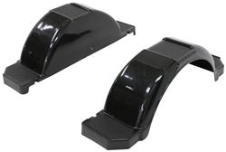 "CE Smith Single Axle Trailer Fenders w/ Top and Side Steps - Black Plastic - 14"" Wheels - Qty 2"