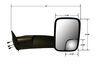 CM46500 - Black CIPA Replacement Towing Mirror