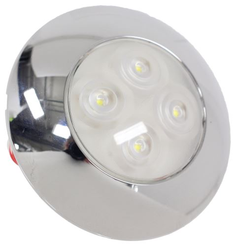 Custer LED Interior Trailer Dome Light W/ Chrome Bezel   4 Diodes   Round    Clear Lens