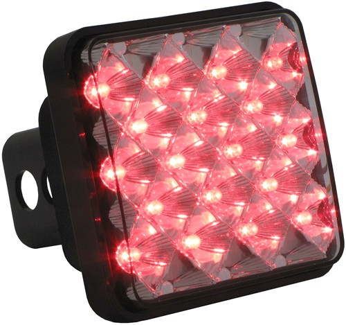 Large Square Led Brake And Tail Light Trailer Hitch Cover With Reflector Technology