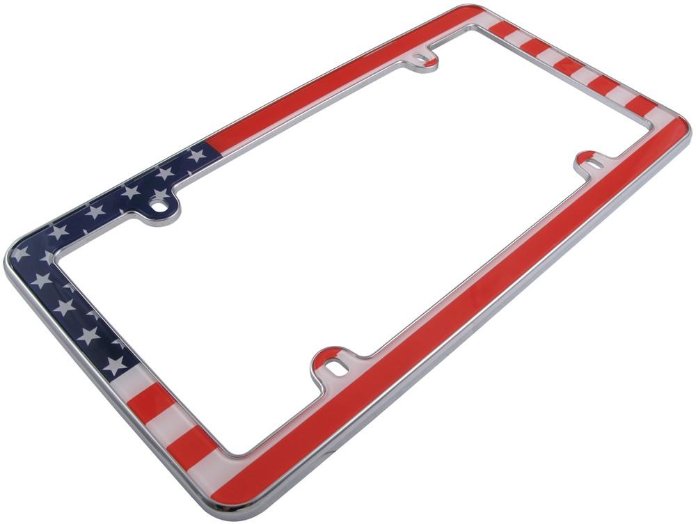 Usa Flag License Plate Frame Red White Blue And Chrome