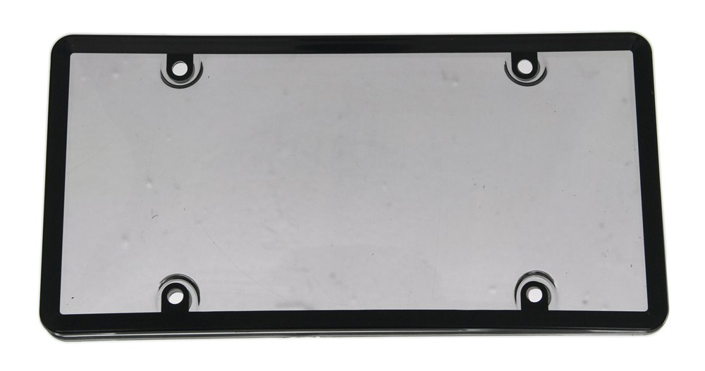 Combo License Plate Frame And Smoke Tinted Shield Black