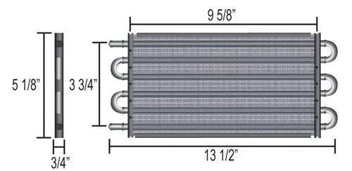 Derale 13311 Series 7000 Tube and Fin Cooler Core