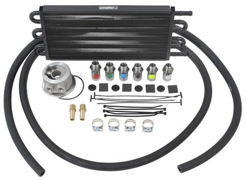 derale tube fin engine oil cooler kit  adjustable sandwich adapter multiple threads class