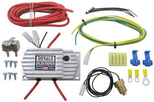 """Derale Coolant Fan Temperature Switch 16789; Adjustable for Dual Fans 3//8/"""" NPT"""