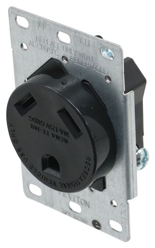 RV Outlet Receptacle with Mounting Plate - 30 Amp - 120 ...