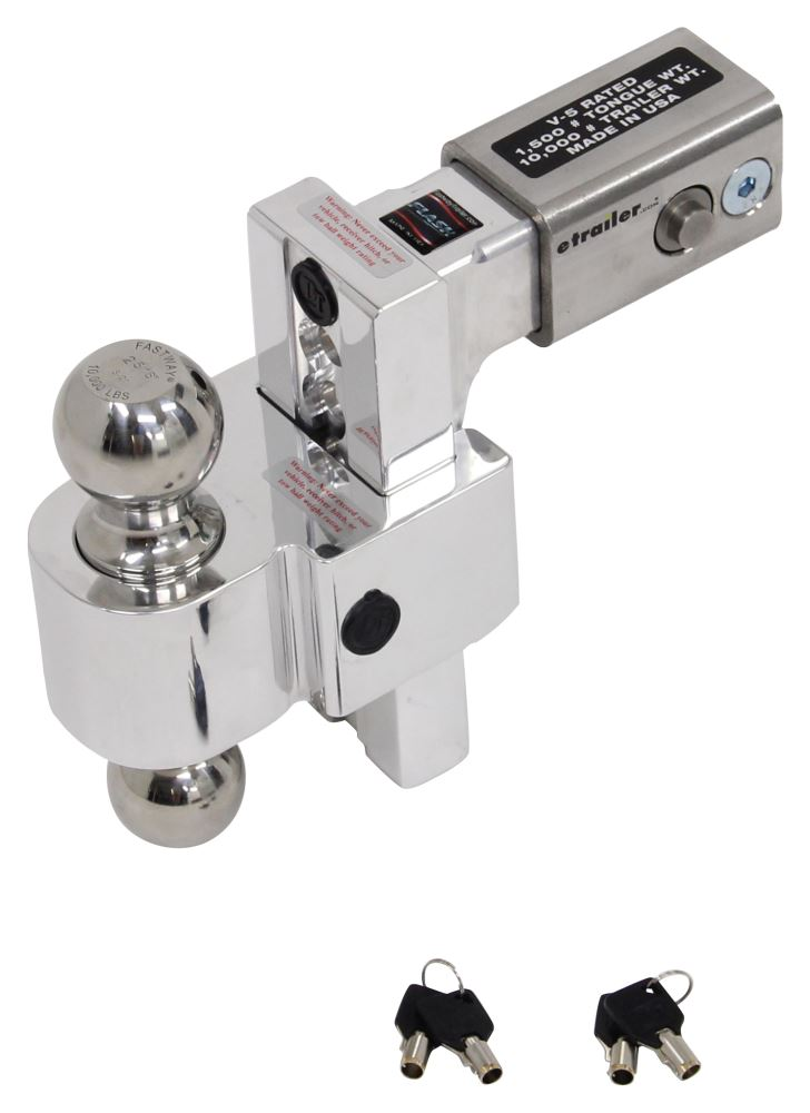 "Self-Locking, Adjustable 2-Ball Mount, Stainless Balls - 2.5"" Hitch - 6"" Drop/7"" Rise Two Balls DTALBM6625-2S"