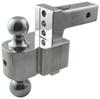 "Solid-Tow Adjustable 2-Ball Mount w Chrome Balls - 2"" Hitch - 4"" Drop, 5"" Rise Steel Ball DTSTBM6400"
