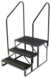 "Econo Porch Trailer Step w/ 2 Handrails and Landing - Double - 7"" Drop/Rise, 20-1/2"" Tall"