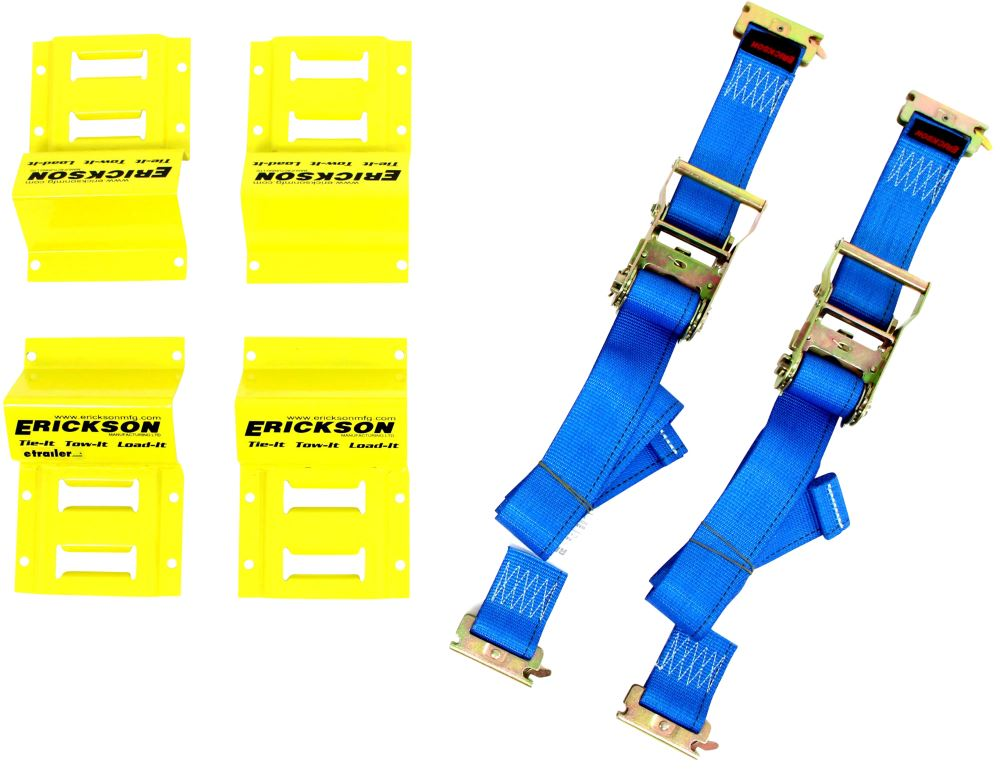 Erickson ATV E-Track Tie-Down Kit w/ Ratchet Straps and Wheel Chocks - 1,500 lbs 1 Strap EM09160