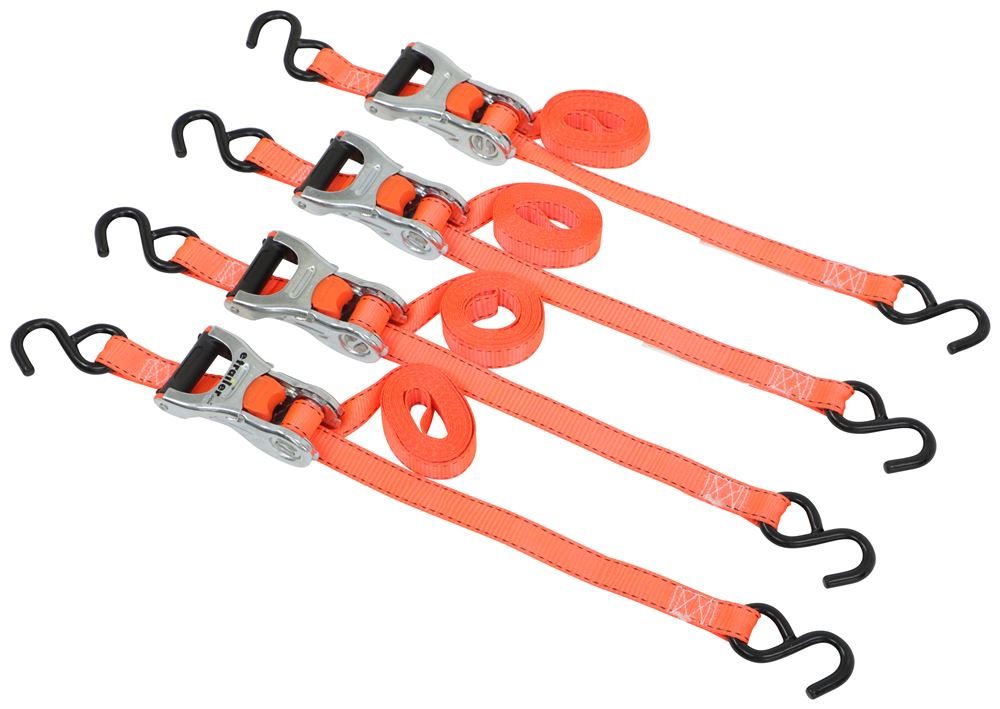 "Erickson Ratchet Tie-Down Straps w/ Web Clamps and S-Hooks - 1"" x 10' - 500 lbs - Qty 4 500 lbs EM31352"