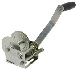 "Fulton Single Speed Trailer Winch - 7"" Long Handle - Rope or Strap - Zinc - 900 lbs"