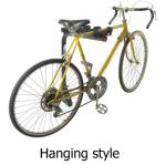 Hanging style hitch-mounted bike rack in use with bicycle