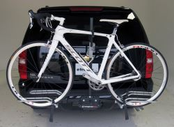 Platform style bicycle carrier installed and in use